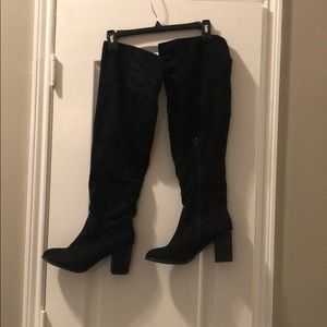 Black Over the Knee Boots - Wide Calf - Size 10